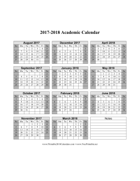 2018 and 2018 school calendar printable