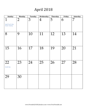 April 2018 Calendar (vertical) Calendar