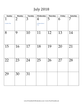 July 2018 Calendar (vertical) Calendar