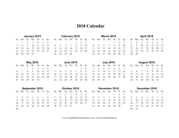 2018 Calendar on one page (horizontal) Calendar