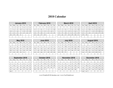 2018 Calendar on one page (horizontal grid) Calendar