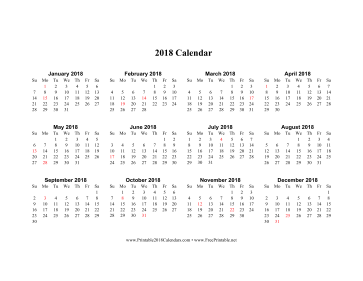 2018 Calendar on one page (horizontal holidays in red) Calendar