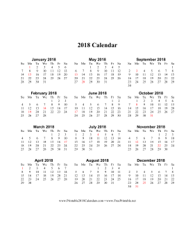 2018 Calendar (vertical descending holidays in red) Calendar