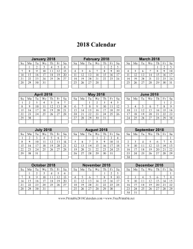 2018 Calendar on one page (vertical grid) Calendar