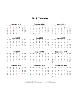 2018 Calendar on one page (vertical holidays in red) Calendar