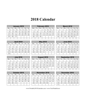 2018 Calendar on one page (vertical months run across page week starts on Monday) Calendar