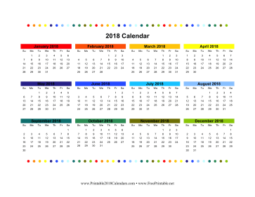 2018 Colorful Calendar Calendar