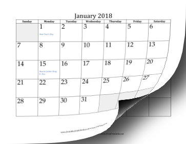 2018 Calendar with days of adjacent months in gray Calendar