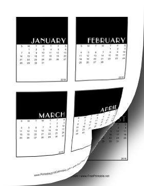 2018 Vertical Scrapbook Calendar Cards Calendar