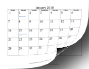 2018 Calendar with dates of adjacent months in gray calendar